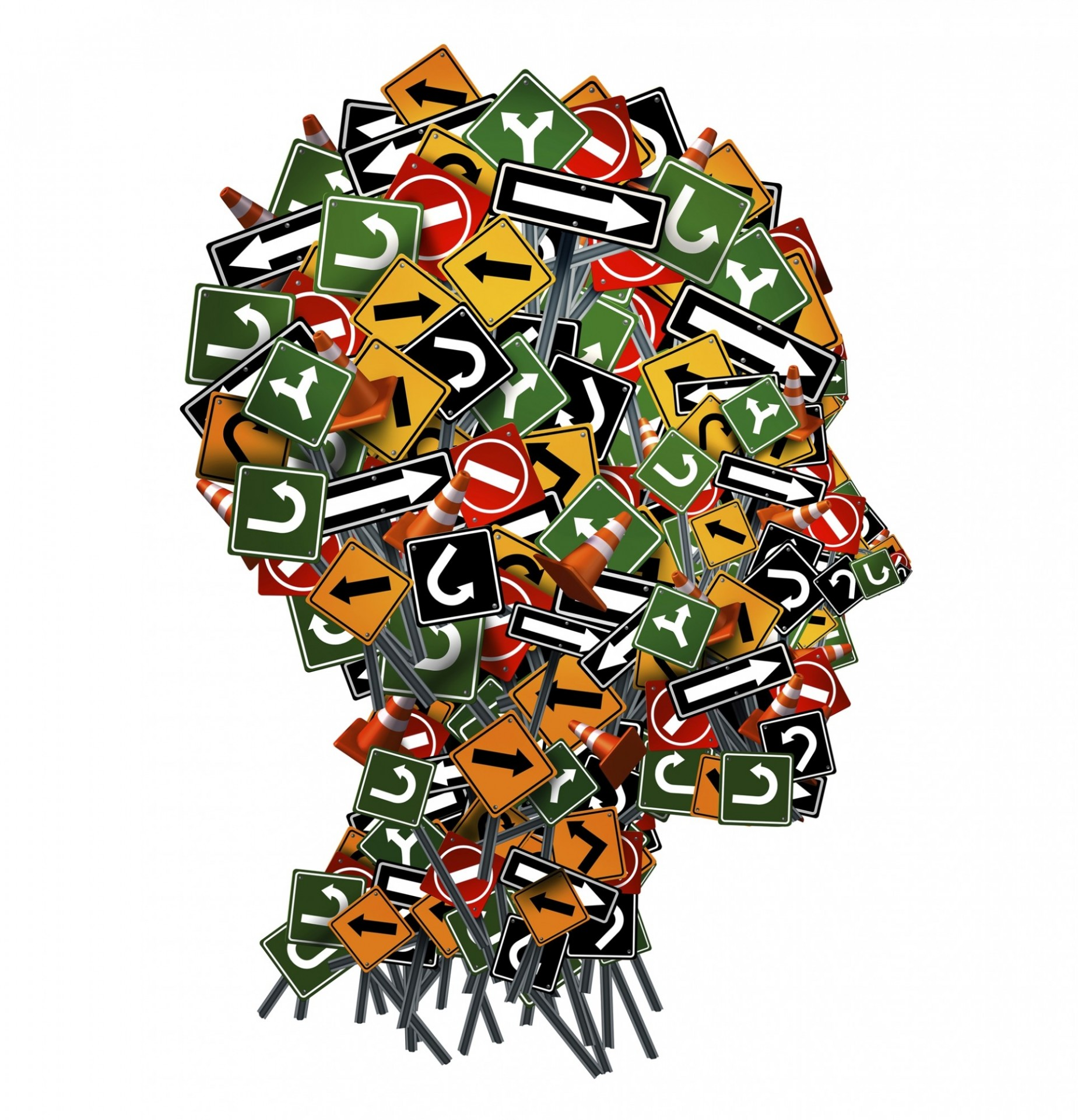 human face made up of traffic signs