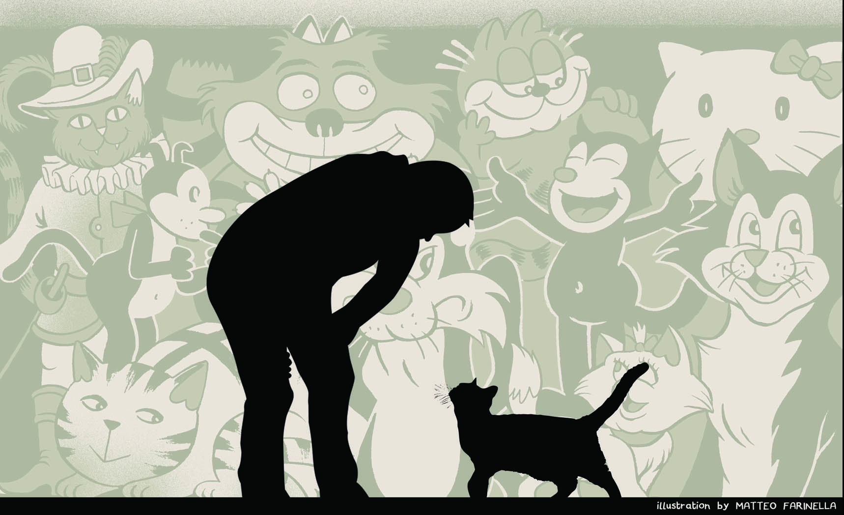 man and a cat against a background filled with images of cartoon cats