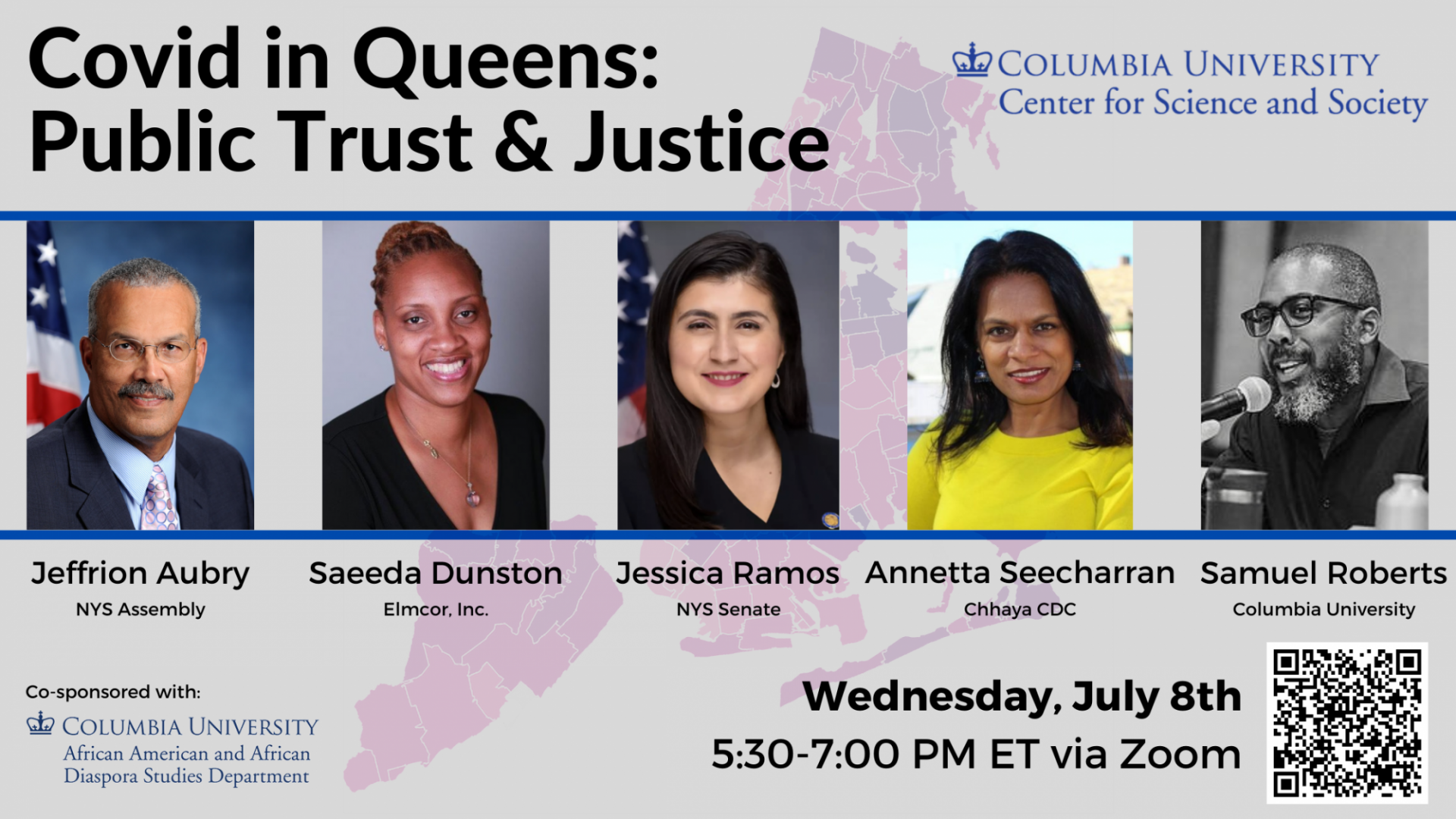"Image of event speakers with event title ""Covid in Queens: Public Trust & Justice"""