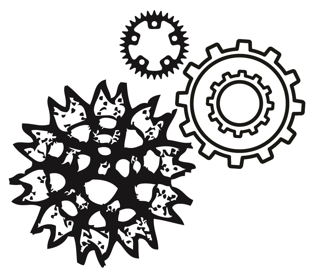 Center for Science and Society Logo, three gears that also look faintly biological